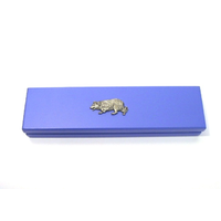 Border Collie on Violet Blue Wooden Pen Box with 2 Pens