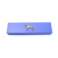 Weimaraner Dog Motif on Violet Blue Wooden Pen Box with 2 Pens