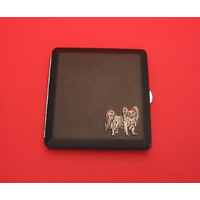 Papillon Dog Motif on Black Faux Leather Cigarette Case