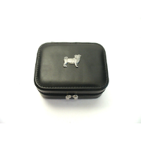 Pug Dog Design Small Black Travel Jewellery Box Gift