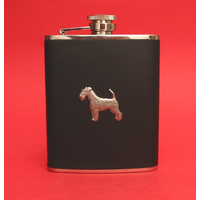 Airedale Terrier 6oz Black Leather Hip Flask Dog Gift