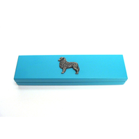 Australian Shepherd Motif on Turquoise Wooden Pen Box with 2 Pen