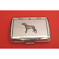 Greyhound on Polished Stainless Steel Tobacco Tin