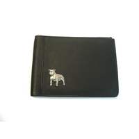 Staffordshire Bull Terrier Design Real Leather Black Passport Ho