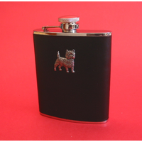 Cairn Terrier 6oz Black Leather Hip Flask Dog Gift