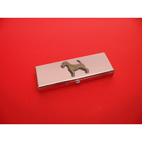 Airedale Terrier Pewter Motif on Seven Day Pill Box Gift