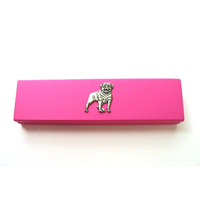 Rottweiler Motif on Pink Wooden Pen Box with 2 Pens