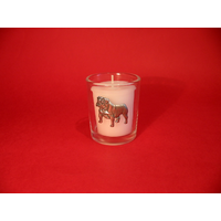 English Bulldog Motif On Glass Votive Candle Holder Xmas Gift