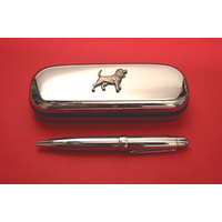 Beagle Chrome Pen Box & Pen Stationery Gift
