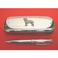 Border Terrier Chrome Pen Box & Pen Stationery Gift