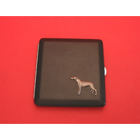 Greyhound Motif on Black Faux Leather Cigarette Case