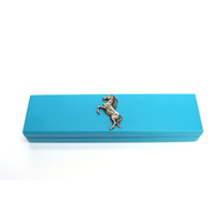 Rearing Pony Motif on Turquoise Wooden Pen Box with 2 Pens