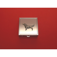 Springer Spaniel Motif On Sq. Mint / Pill Box W/Vanity Mirror