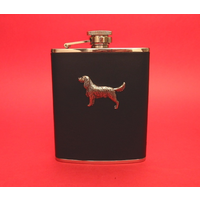 Springer Spaniel 6oz Black Leather Hip Flask Dog Gift
