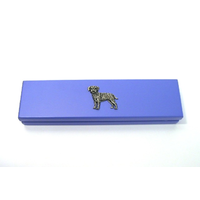 Border Terrier on Violet Blue Wooden Pen Box with 2 Pens