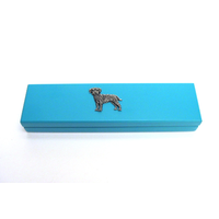 Border Terrier Motif on Turquoise Wooden Pen Box with 2 Pens