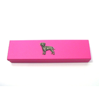 Border Terrier Motif on Pink Wooden Pen Box with 2 Pens