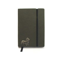 Dachshund A6 Olive Green Journal Notebook Dog Gift