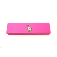 Short Haired Cat Motif on Pink Wooden Pen Box with 2 Pens