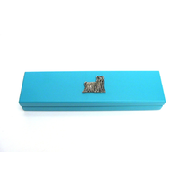 Yorkshire Terrier Motif on Turquoise Wooden Pen Box with 2 Pens