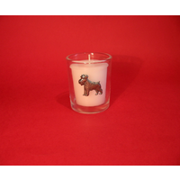 Schnauzer Motif On Glass Votive Candle Holder Xmas Gift