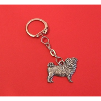 Pug Dog Keyring Pewter Pet Mum Dad Gift