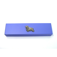 Cocker Spaniel Motif on Violet Blue Wooden Pen Box with 2 Pens