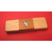 Short Haired Cat on Wooden Pen Box with 2 Pens