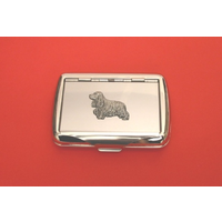Cocker Spaniel Motif on Polished Stainless Steel Tobacco Tin