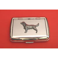 Springer Spaniel Motif on Polished Stainless Steel Tobacco Tin