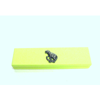 Dinosaur Motif on Lime Wooden Pen Box with 2 Pens