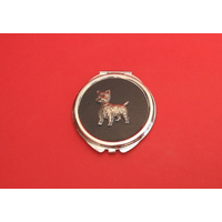 West Highland Terrier on Black Round Compact Mirror