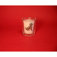 Jack Russell Motif On Glass Votive Candle Holder Xmas Gift