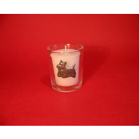 Scottish Terrier Motif On Glass Votive Candle Holder Xmas Gift