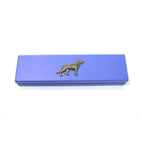 German Shepherd Motif on Violet Blue Wooden Pen Box with 2 Pens
