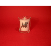 Cairn Terrier Motif On Glass Votive Candle Holder Xmas Gift
