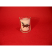 Irish Setter Motif On Glass Votive Candle Holder Xmas Gift