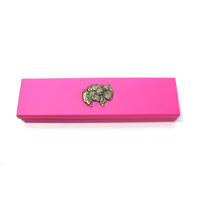 Pomeranian Dog Motif on Pink Wooden Pen Box with 2 Pens