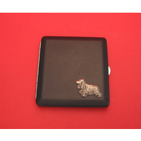 Cocker Spaniel Motif on Black Faux Leather Cigarette Case