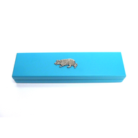 Border Collie Motif on Turquoise Wooden Pen Box with 2 Pens