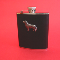 Golden Retriever Dog 6oz Black Leather Hip Flask