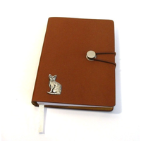 Short Haired Cat A6 Tan Journal Notebook Gift