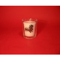 Dachshund Motif On Glass Votive Candle Holder Xmas Gift