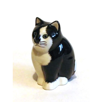 Quail Ceramic Black & White Cat Figurine 'Smudge' Collectible