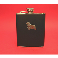 Cocker Spaniel 6oz Black Leather Hip Flask Dog Gift