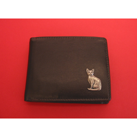 Short Haired Cat Design Real Leather Dark Brown Wallet Gift