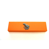 Dinosaur T Rex Motif on Apricot Wooden Pen Box with 2 Pens