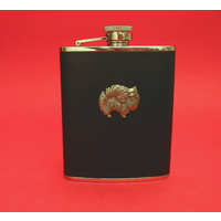 Pomeranian Dog 6oz Black Leather Hip Flask Dog GIft
