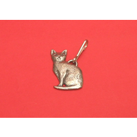 Short Haired Cat Zipper Pull Pewter Pet Gift