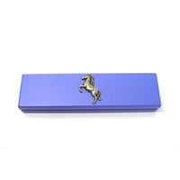 Rearing Horse Motif on Violet Blue Wooden Pen Box with 2 Pens